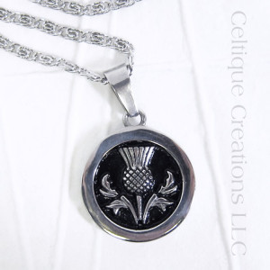 Bold Scottish Thistle Necklace Stainless Steel